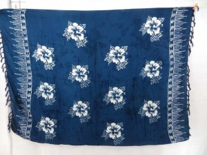 monocolor dark blue sarong screen printings with leaves, sun, dolphin, seashell, palm leaves etc tropical designs