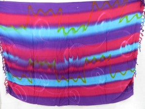fringe tie dye sarong with stripes mixed colors