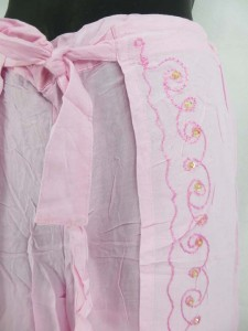 fake wrapping pants with embroidery designs, one size, rayon fabric, made in Indonesia Length: 37 inches Waist: 25 inches, can be stretched up to 35 inches