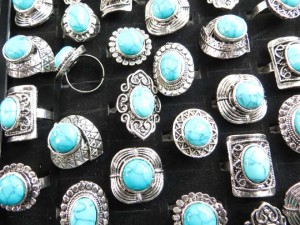 Tibet Silver Plated Alloy Vintage Look Turquoise Rings  adjustable size, assorted designs randomly picked by our warehouse staffs