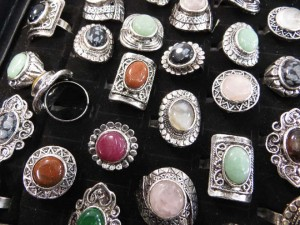 antique style gemstone rings adjustable size, assorted designs randomly picked by our warehouse staffs