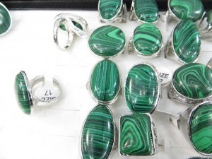green malachite semi-precious stone rings size randomly pick between 6 to 10