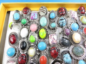 Assorted mixed color gemstone fashion rings adjustable size, assorted designs randomly picked by our warehouse staffs