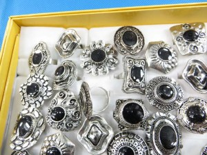 dark blue sandstone vintage style rings adjustable size, assorted designs randomly picked by our warehouse staffs