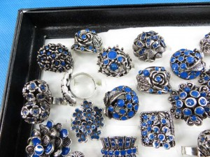 navy blue color enamel vintage antique retro costume jewelry rings adjustable size, assorted designs randomly picked by our warehouse staffs