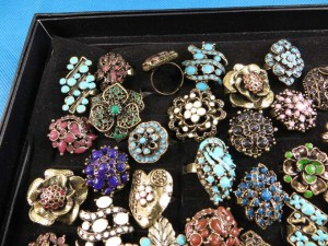 mixed color enamel vintage antique retro costume jewelry rings adjustable size, assorted designs randomly picked by our warehouse staffs