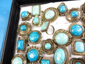 bronze tone turquoise retro ring wholesale lots adjustable size, assorted designs randomly picked by our warehouse staffs