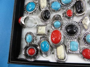 assorted gemstone retro vintage style rings adjustable size, assorted designs randomly picked by our warehouse staffs