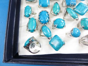 genuine turquoise semi-precious stone jewelry rings size randomly pick between 6 to 10