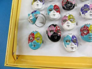Peking opera mask masquerade face rings, enamel and crystal geisha mask rings adjustable size, assorted designs randomly picked by our warehouse staffs