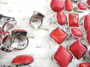 red turquoise gemstone rings size randomly pick between 6 to 10