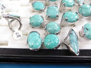 blue turquoise gemstone rings size randomly pick between 6 to 10