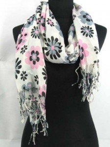 daisy flowers large long pashmina scarf shawl wrap stole, cute and feminine 76 inches long, 23 inches wide