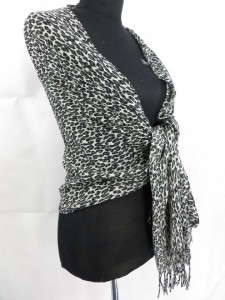 small leopard animal print shawl scarf long stole 76 inches long, 23 inches wide