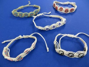 assorted design handmade jewelry fimo disk beads hemp string macrame bracelet wristband