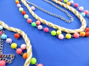 twisted macrame handmade necklace with color beaded chain necklace / keychain necklace