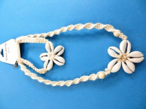 hippy hemp jewelry, seashell flower macrame bracelet and necklace set