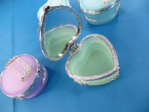plastic jewelry box, mirror inside (glue shows obviously, on sale, sales final) around 3 inches by 3 inches  was $3 each