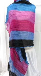 half seethrough tie-dye layers women's fashion shawl, long soft scarf sarong wrap 100% polyester, soft cotton feel Approximately 68 to 70 inches long, 42 to 44 inches wide