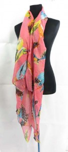 tweeting birds design half seethrough lady shawl wrap stole scarf sarong 100% polyester, soft cotton feel Approximately 68 to 70 inches long, 42 to 44 inches wide