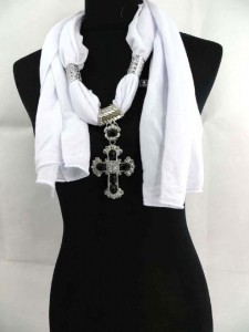 jewelry scarf cross pendant scarf made of polyester but feels like soft cotton 70 inches long (include tassels), 18 to 20 inches wide