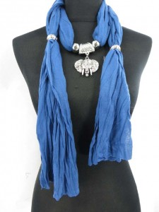 lucky fengshui elephant face jewelry pendant scarf made of polyester but feels like soft cotton 70 inches long (include tassels), 18 to 20 inches wide