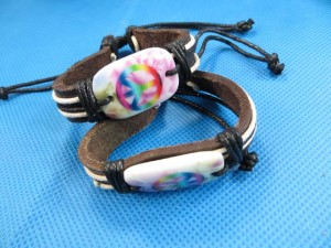 gay pride rainbow color peace sign leather hemp bracelet wristband, length adjustable