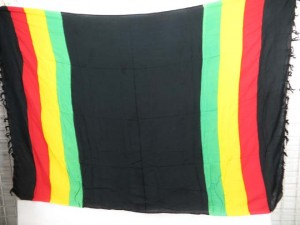 rasta design black red yellow green sarong wrap