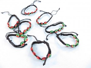 macrame hemp bracelet with fimo beads in rasta cannabis hemp pot leaf marijuana leaf design