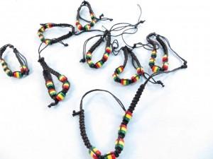 reggae rasta beaded handmade hemp macrame bracelet wristband