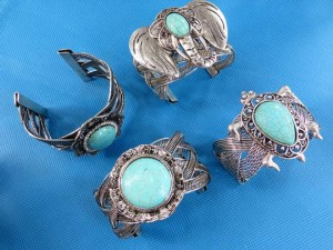 vintage antique style turquoise gemstone jewelry bangle cuffs bangle width around 2 inches