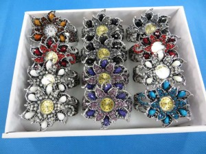 retro colored resin gem stone flower crystal rhinestone cuff watch bracelet bangles
