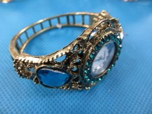 retro antique bronze plated rhinestone crystal cuff bracelet bangle watch