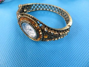 retro crystal rhinestone cuff watch bracelet bangle