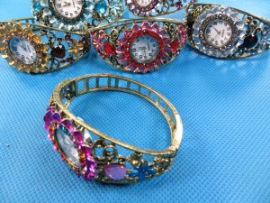 fashion jewelry retro rhinestone crystal cuff bracelet bangle watch