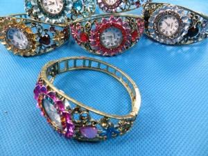 fashion jewelry retro rhinestone crystal cuff bracelet bangle watch