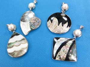 natural seashell mosaic pendant with faux pearl in assorted designs and shapes  size around 2 to 2.5 inches in length