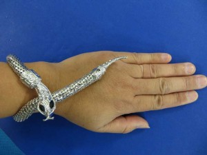 snake coil bracelet silver plated 13 inches long, adjust to any bracelet size you want