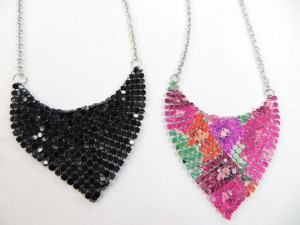 soft metal chip cloth pendant necklaces