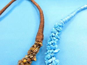 natural stone chips and thread wrapping necklaces 18 inches long, button part with stone chips 0.65 to 0.75 inches thick