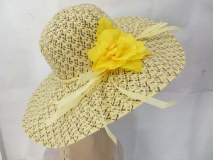 summer lady's straw hat with flower decoration