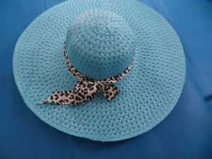 straw hats with animal print ribbon