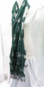 thick double layers reversible rose design thick scarves made of polyester but feels like soft cotton 80 inches long (include tassels), 12 inches wide (without stretched), can be stretched up to 22 inches wide