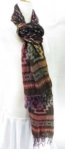 thick double layers reversible vintage design thick scarves made of polyester but feels like soft cotton 80 inches long (include tassels), 12 inches wide (without stretched), can be stretched up to 22 inches wide