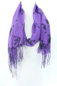 skull gothic thin pashmina scarf 70 inches long (include tassels), 22 inches wide