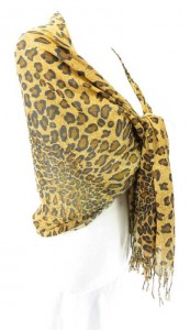 leopard animal print shawl scarve 68 inches long (include tassels), 22 inches wide