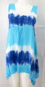 Casual tie dye short dress made with rayon. Made in Bali Indonesia. Approximate 35 inches in length (not include the speghetti straps). One size fits all - S M (for US Size 6, 8, 10).