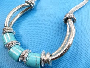 chunky large turquoise bead and silver snake coil necklaces necklace 18 inches in length, bead diameter 0.75 inches