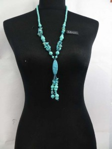 genuine blue turquoise long beaded necklaces beaded necklace 30 inches in length, plus 4.5 inches dangle pendant