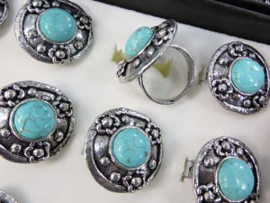 turquoise jewelry real gemstone rings in assorted designs, adjustable sizes